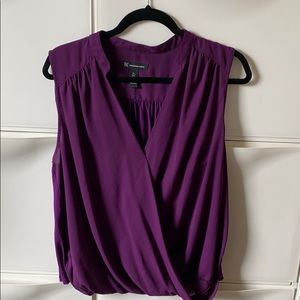 INC purple blouson faux wrap top